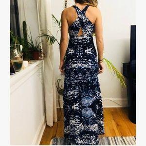 NWOT Intermix Blue Print Silk Maxi Dress